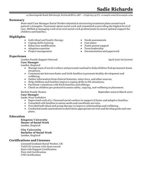 Case Manager Resume Example   Social & Services Sample