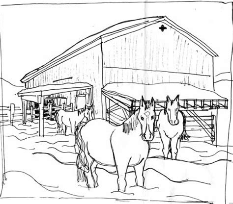 horse barn coloring page horse barn drawing www pixshark com images galleries