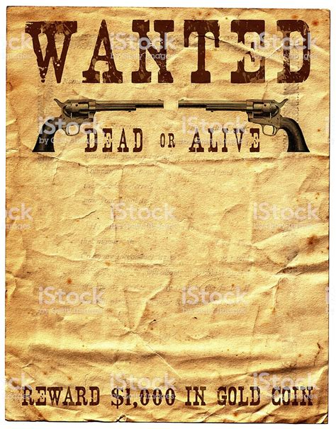 Wild West Wanted Poster Reward Stock Photo More Pictures Of American Culture Istock Western Wanted Poster Template