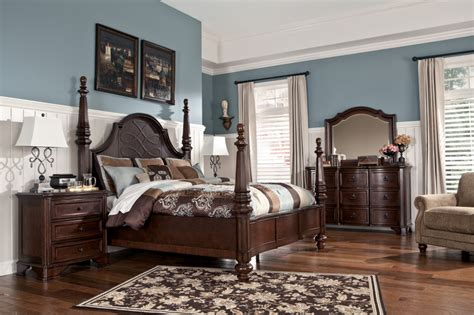 ashley bedroom set poster bed ogle furniture