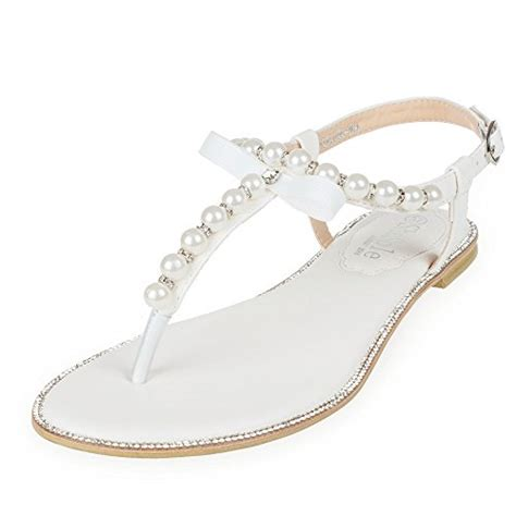 shoezy womens pu leather flat sandals wedding pearls