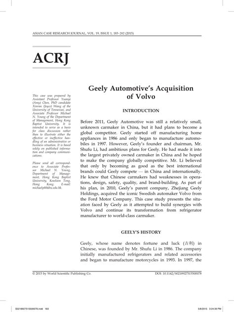 geely automotives acquisition  volvo