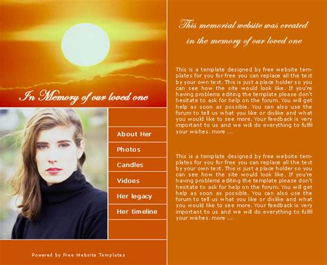 memorial page template memorial website template free website templates