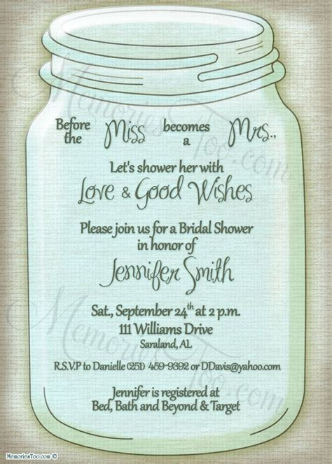 Jar Bridal Shower Invitations by 17 Best Images About Free Printables On Free Wedding Templates Do It Yourself And