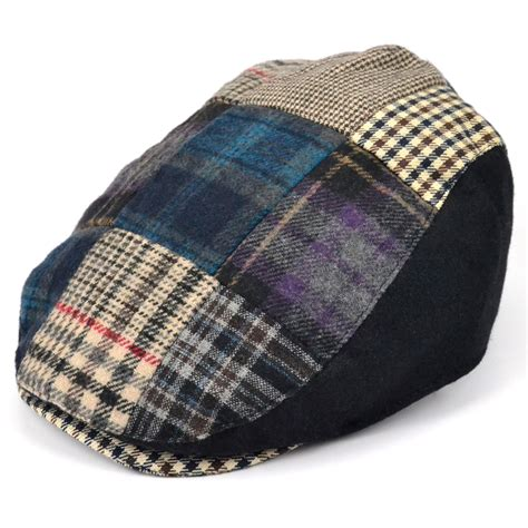 Tweed Patchwork - flat cap patchwork cotton tweed flatcap check herringbone