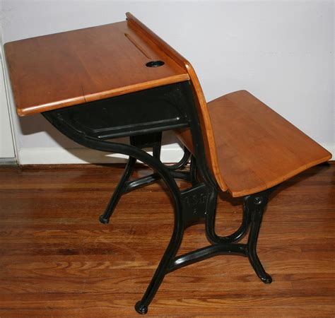 old wooden school desks with inkwells and value agc1