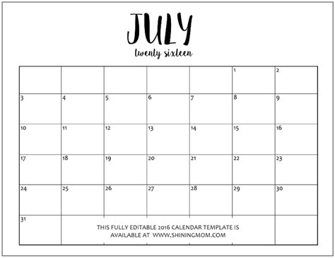 free editable calendar template free editable monthly calendars 2016 in jpeg format