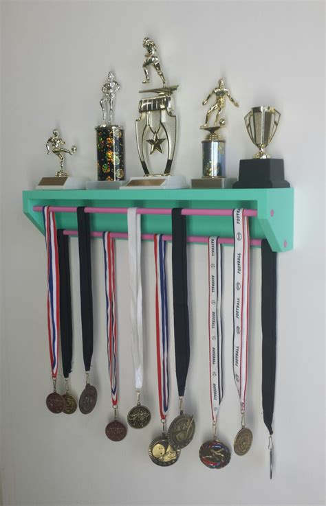 Gymnastics Trophy And Medal Shelf by Trendy Trophy Display Version Aqua Customize Colors
