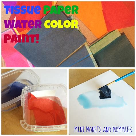 Make Your Own Watercolor Paper - mini monets and mommies tissue paper watercolor paint for