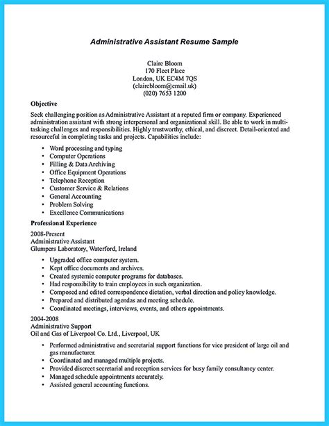 Administrative Assistant Resume Objective Exles by Sle To Make Administrative Assistant Resume