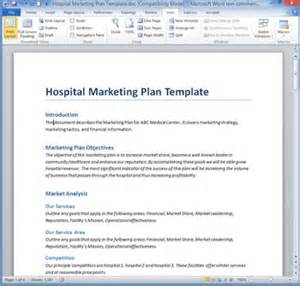 healthcare marketing plan template hospital marketing plan template