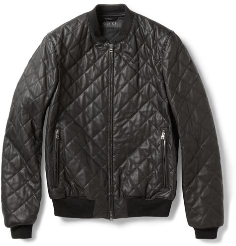 Black Quilted Bomber Jacket by Gucci Quilted Leather Bomber Jacket In Black For Lyst