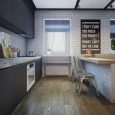 home design for young couple white brick kitchen interior design ideas