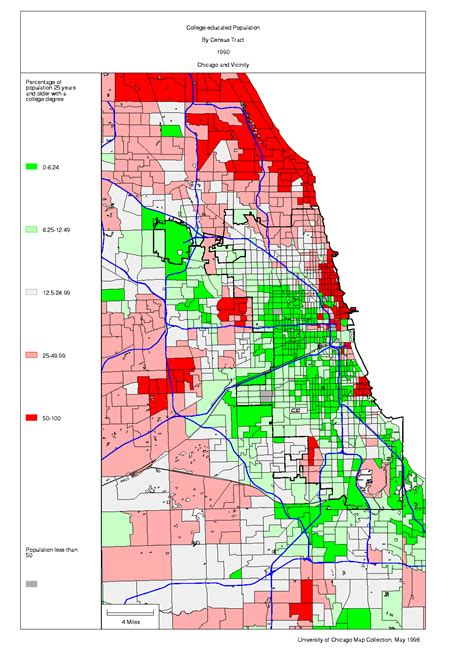 chicago map by race chicago 1990 census maps