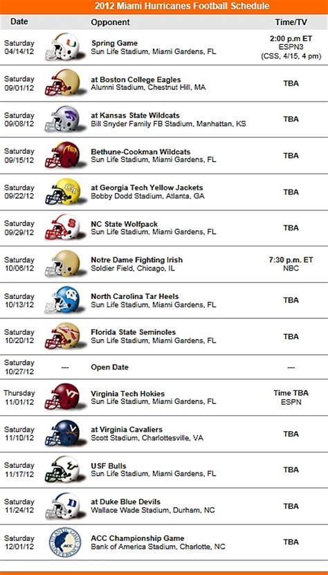printable hurricanes schedule miami hurricanes 2012 football schedule the u