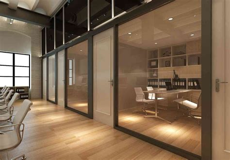 grand furniture corporate office cabins with glass partition and wooden flooring being