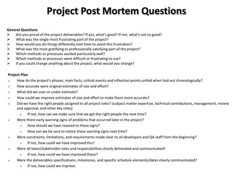 business post mortem template ppt project post mortem questions powerpoint
