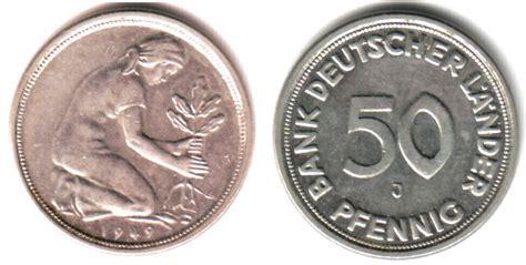 50 pfennig bank deutscher länder 1949 j 50 pfennig 1949 j brd 50 pfennig bank deutscher l 228 nder