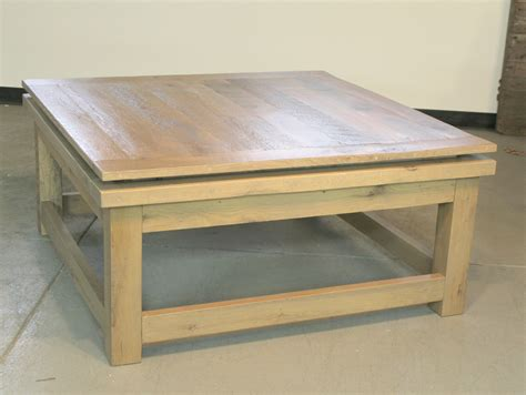 Square Oak Coffee Tables Square Reclaimed Oak Coffee Table Ecustomfinishes