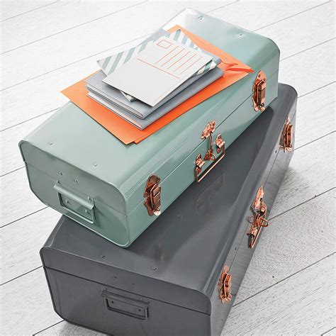 Trunks For Storage In Bedroom by Metal Storage Trunk With Copper Detail Storage Trunk