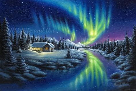northern lights painting for sale original landscape and wildlife paintings by chuck black