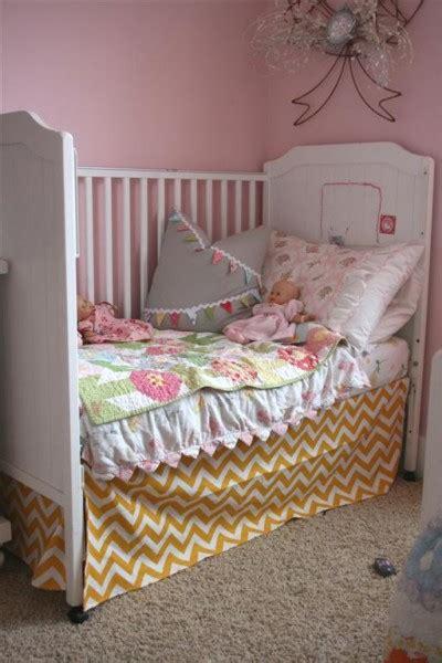Yellow Chevron Crib Skirt by Yellow Chevron Crib Skirt Hopeful Homemaker