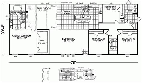 4 Bedroom Mobile Home Floor Plans by 4 Bedroom 3 Bathroom Mobile Home Floor Plans