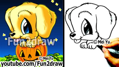 Golden Retriever   Puppy   How to Draw a Dog for Halloween