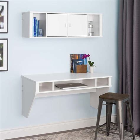 Designer Floating Desk by Prepac Designer Wall Mounted Floating Desk And Hutch Set White Wrhw 0501 2m