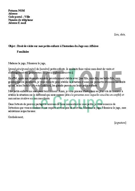 Exemple De Lettre Pour Un Juge modele lettre pour un juge des affaires familiales