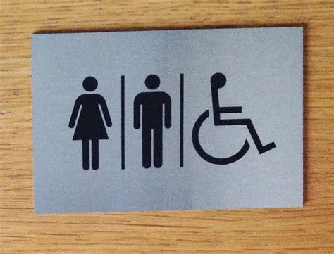 Adhesive Signs For Doors - self adhesive door signs brushed aluminium finish toilet