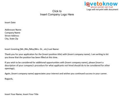 Sle Letter Position Has Been Filled Sle Business Letter Position Filled Email Template