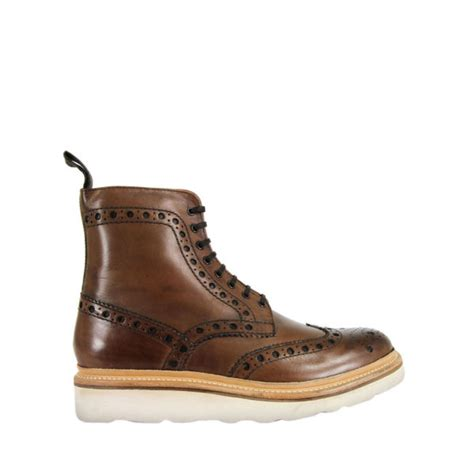 grenson mens fred v leather boots in brown for walnut
