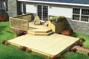 30 90009 split level patio deck with planter building