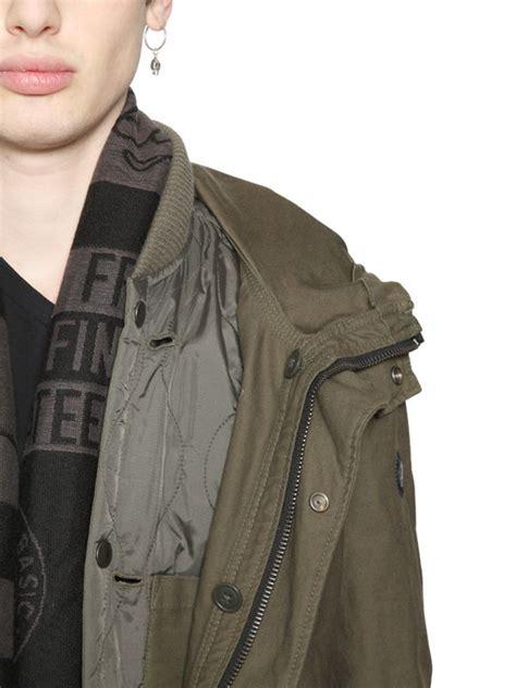 Jaket Parka Vans Kanvas Black diesel canvas parka padded jacket in