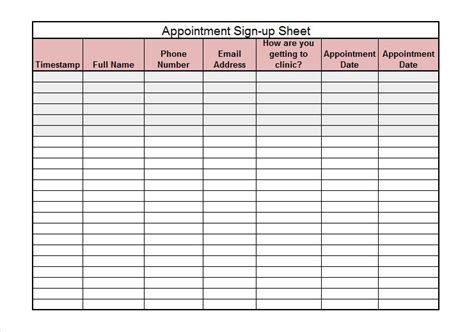 40 Sign Up Sheet Sign In Sheet Templates Word Excel School Sign Template