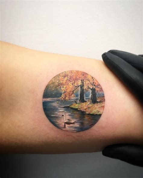 lake tattoo swan lake landscape best ideas gallery