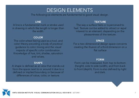 visual communication design elements and principles vdis10015 visual communication skills lecture 1