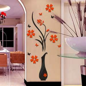Painting For Home Decor Diy 3d Vase Wall Stickers Painting Flower Home Decor