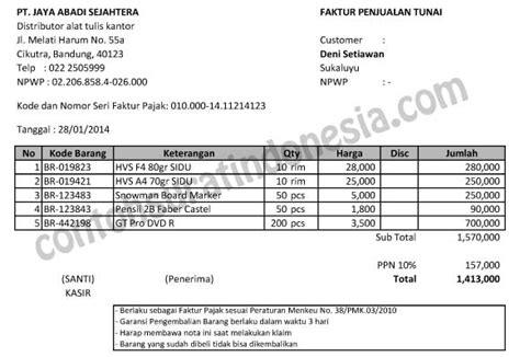 Contoh Surat Promosi Penjualan Barang Elektronik by Contoh Faktur Penjualan Tunai Dalam Format Excel