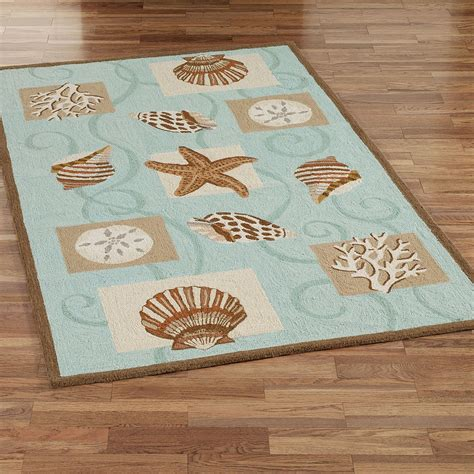 Sea shell hooked wool area rugs