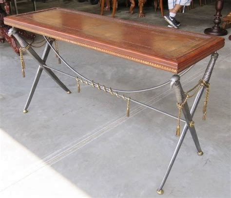 sword console maitland smith leathertop sword base console for sale at