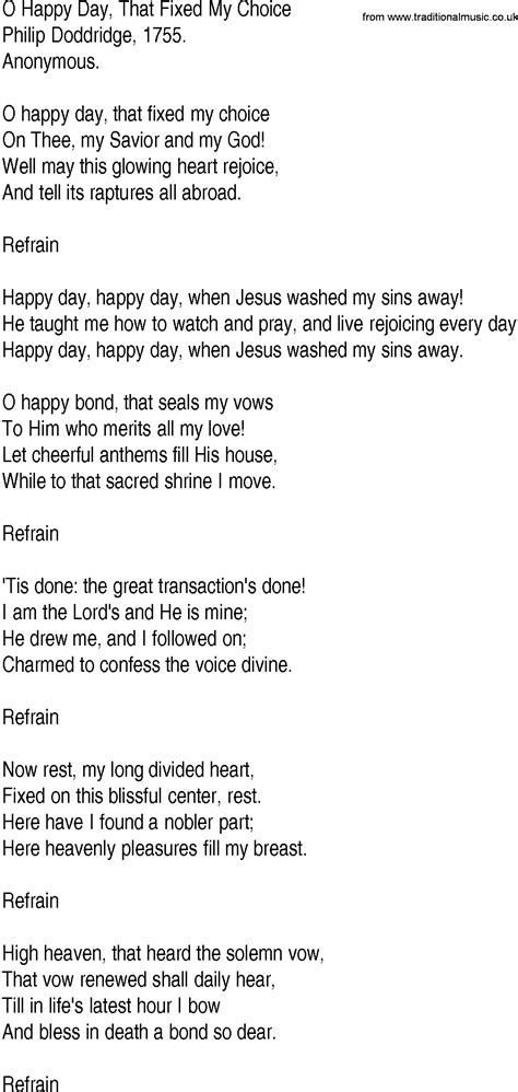 testo end of days hymn and gospel song lyrics for o happy day that fixed my