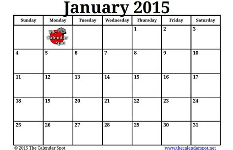 printable monthly calendar january 2015 image gallery january 2015 calendar printable pdf
