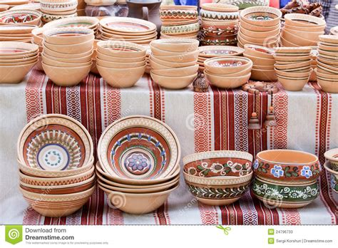 handmade ceramics souvenirs at handicraft market stock