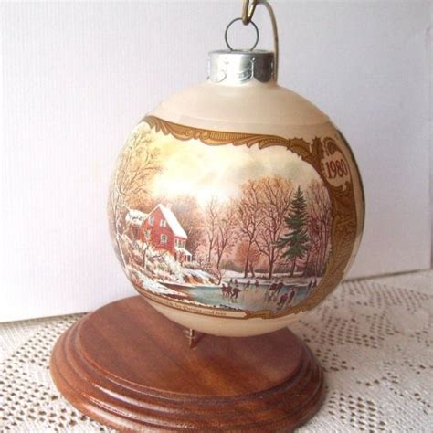 carrier ives christmas oraments grandparents currier ives hallmark glass ornament