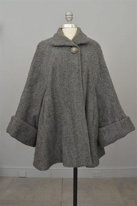 vintage swing coats 1940s grey boucle swing coat with cuffed bell sleeves