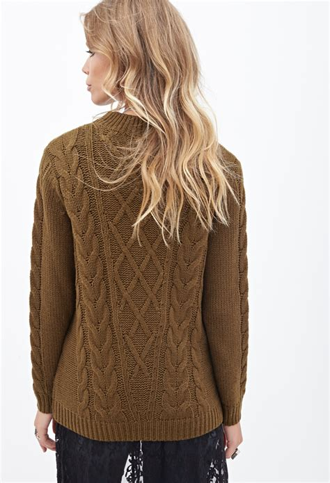 brown cable knit sweater forever 21 cable knit crew neck sweater in brown lyst