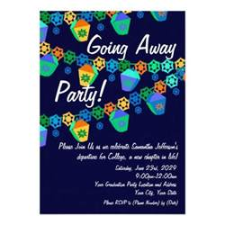 colourful blue lanterns going away 13 cm x 18 cm invitation card zazzle