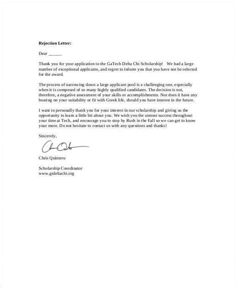rejection letter sample word documents